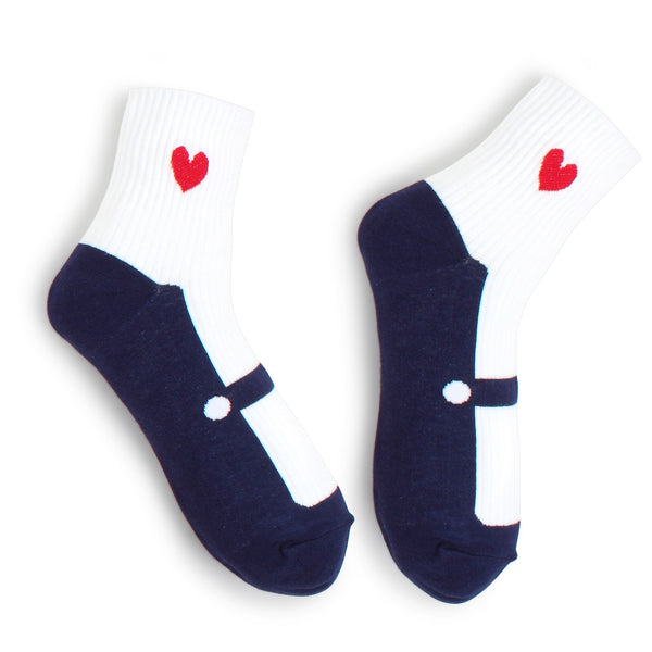 Mary Jane Shoes Socks (Crew 5Pairs) Shoe Look KR15 - intypesocks