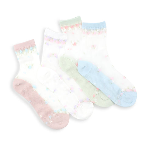 Small flowers see through socks women cute ankle stockings NS14