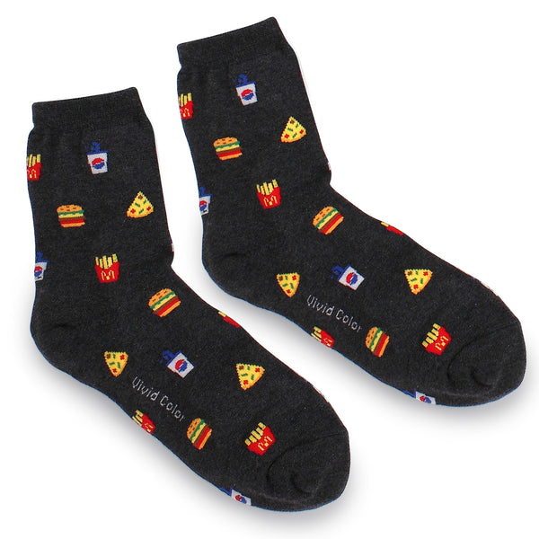 (5 Pairs) Food Pattern Fashion Crew Socks with Fine Cotton OG15 - intypesocks