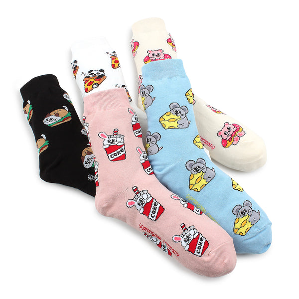 Yummy Friends Socks  like Mukbang (crew 5pairs) OP15 - intypesocks