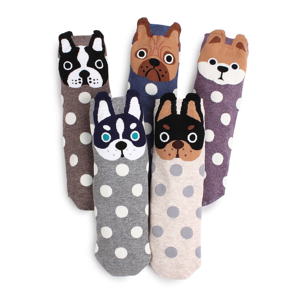(5 Pairs) Women's Prick Eared Puppies Socks (Pack of 5 Pairs) Made in Korea VK15 - intypesocks
