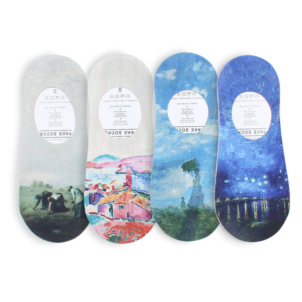 Women Famous Painting Art Printed Funny Novelty Casual Cotton Crew Socks YC14 - intypesocks