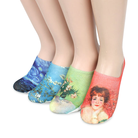Women Famous Painting Art Printed Funny Novelty Casual Cotton Crew Socks YD14 - intypesocks