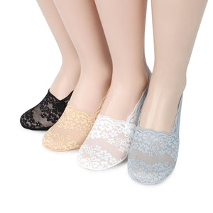 ( 4 colors) Whole Lace Shoe Liner No Show Floral non slip socks YO14