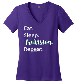 Eat. Sleep. TruVision. Repeat. District Made Ladies Perfect Weight V-Neck