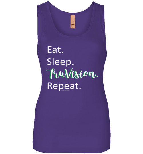 Eat. Sleep. TruVision. Repeat. Next Level Womens Jersey Tank