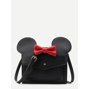 Disney Inspired Minnie Bow Decor Flap Shoulder Bag