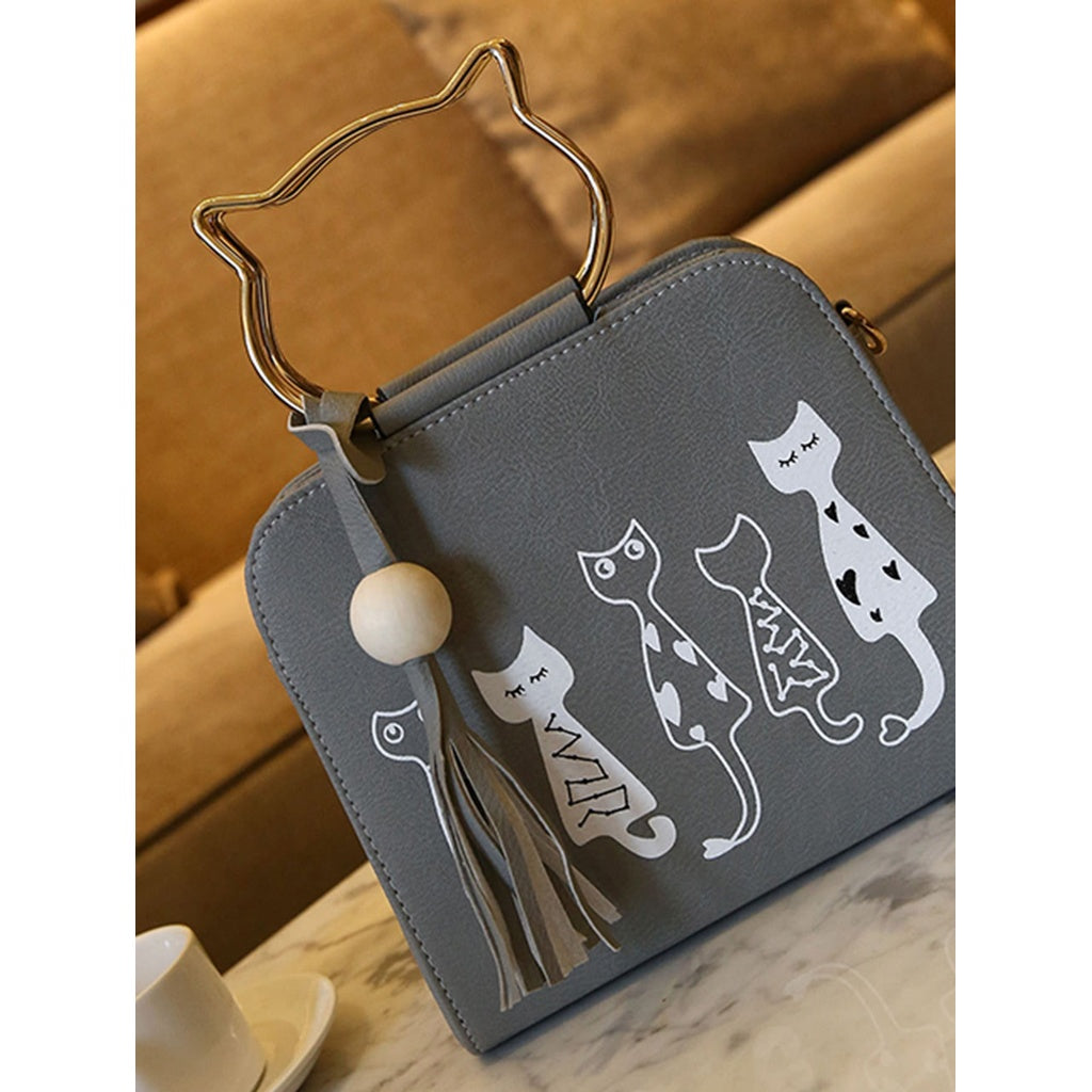Cartoon Print PU Shoulder Bag With Cat Ear Handle