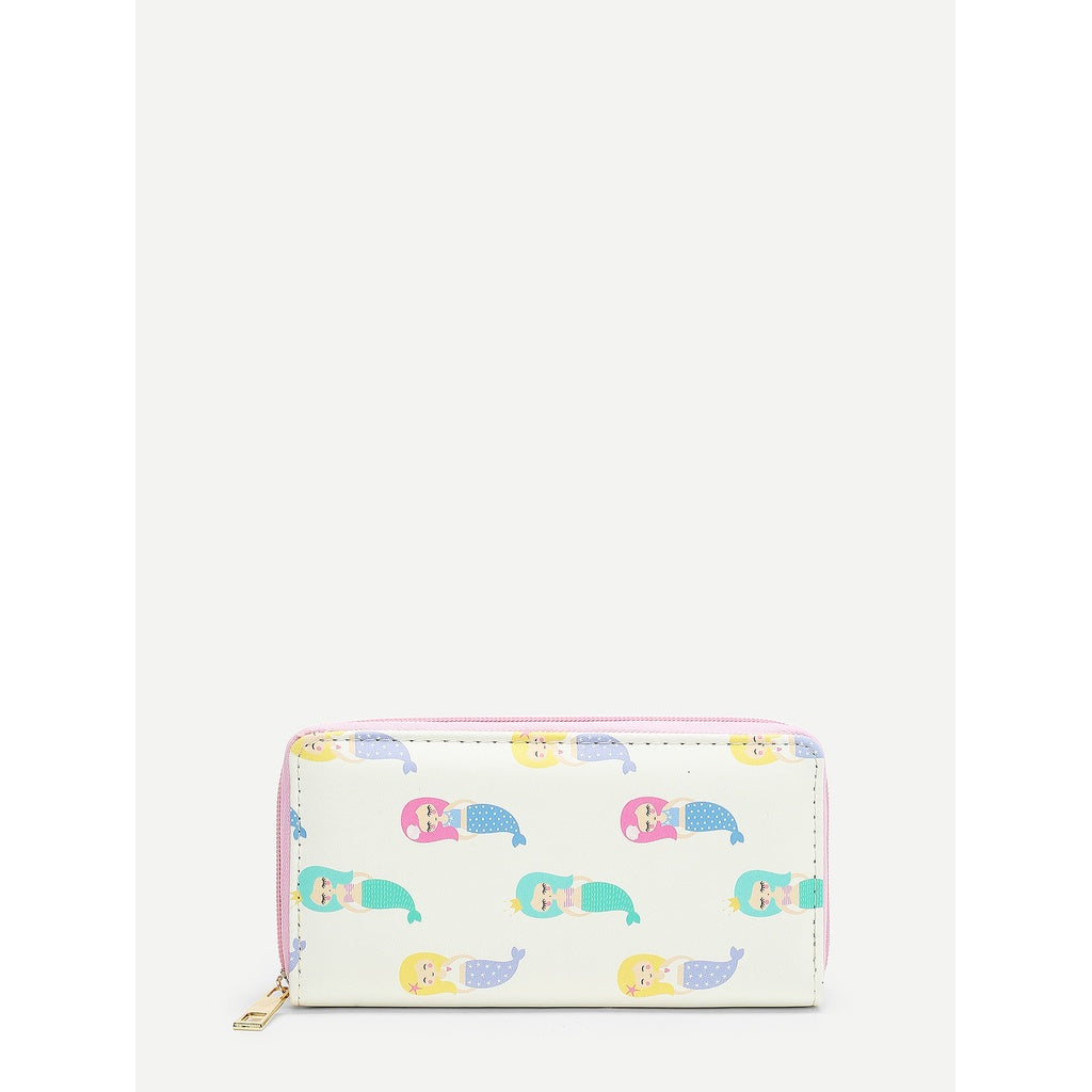 Cartoon Mermaid Print PU Wallet