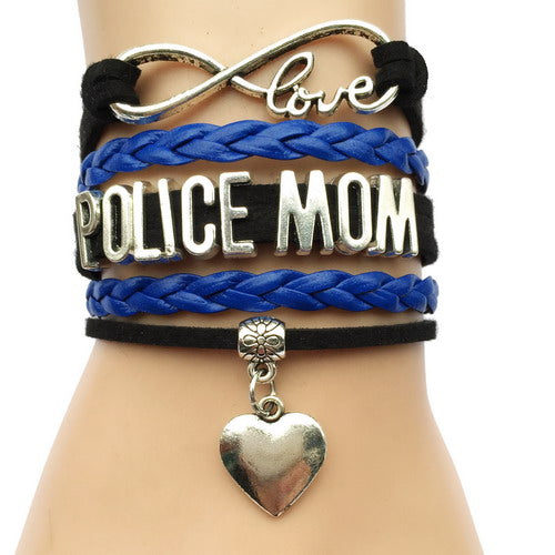 Infinity Love Police Wife OR Mom Bracelet- Heart Charm Leather