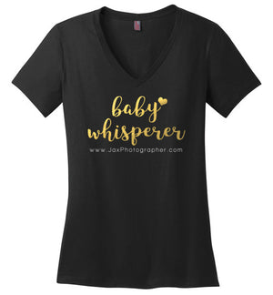 Baby Whisperer, Gold Foil District Made Ladies Perfect Weight V-Neck