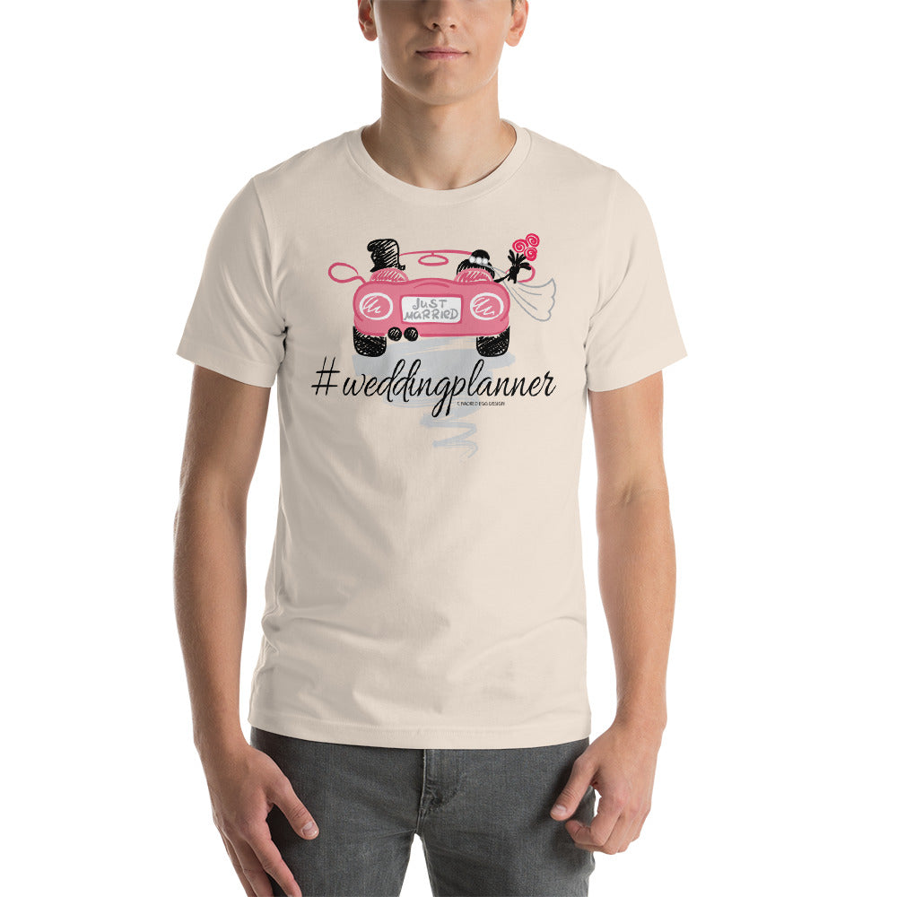 """Wedding planner"" with getaway car pink & black Short-Sleeve Unisex T-Shirt"