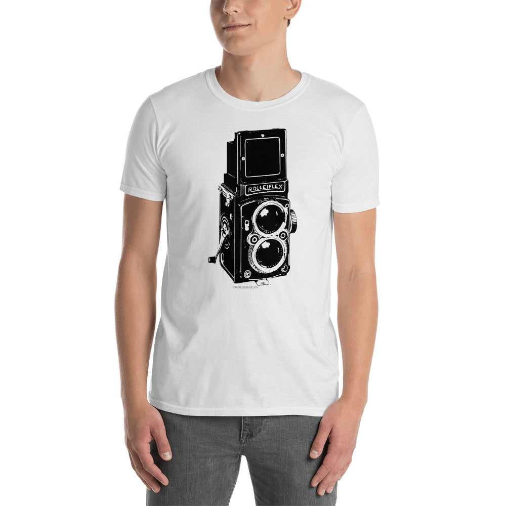 Vintage Rolleiflex Camera (Black) Short-Sleeve Unisex T-Shirt