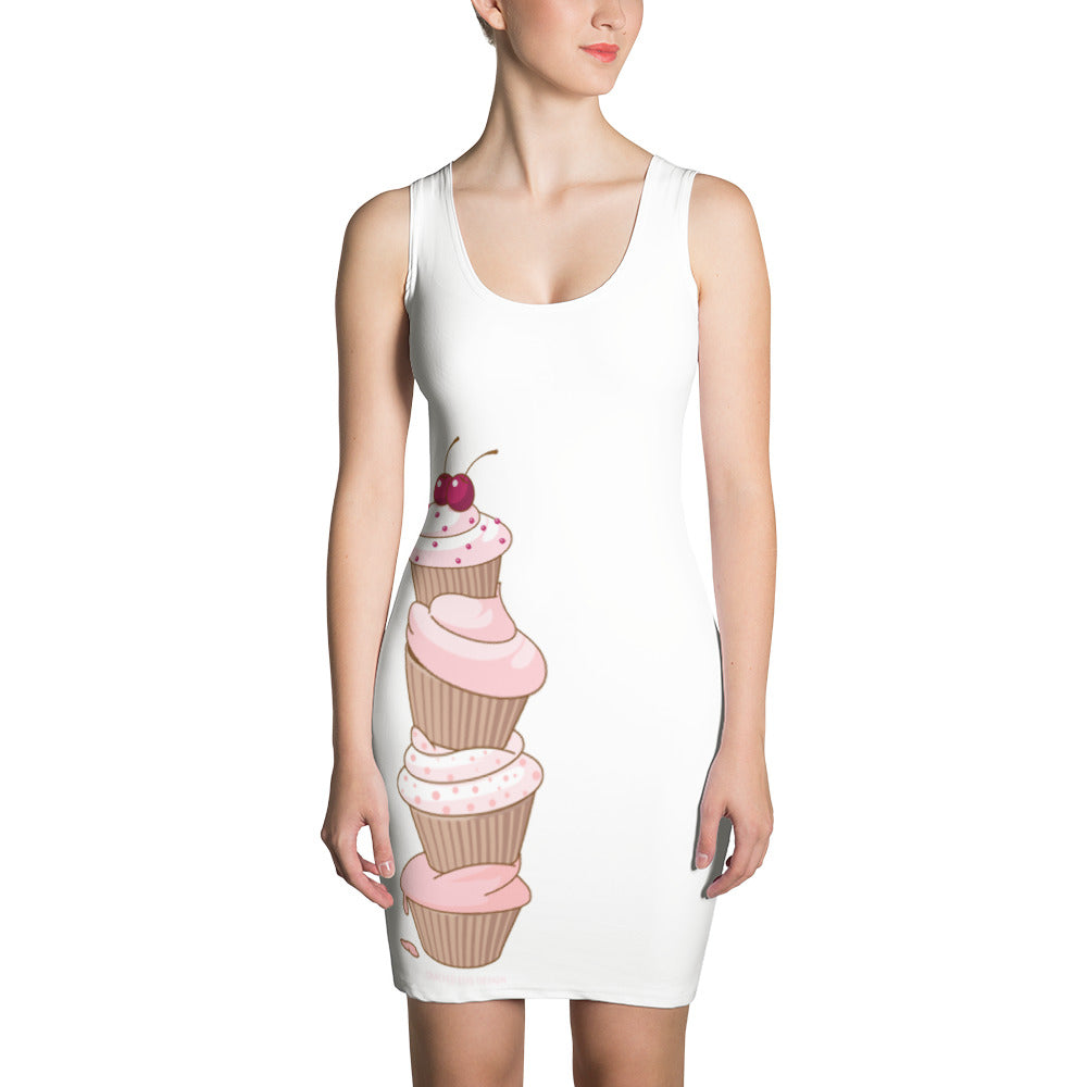 """I sugar coat everything"" (cupcakes, cake artist, baker, foodie) Sublimation Cut & Sew Dress"