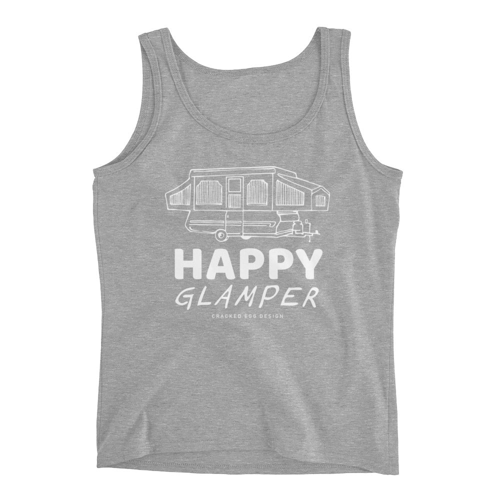 """Happy Glamper"" Pop Up Camper Design Ladies' Tank"