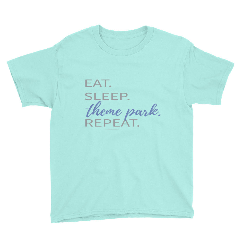 Eat. Sleep. Theme Park. Repeat (Disney/Universal inspired) Youth Short Sleeve T-Shirt