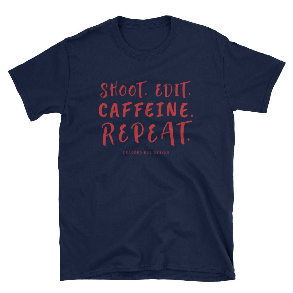 """Shoot. Edit. Caffeine. Repeat."" Photographer/Videographer Red Print Short-Sleeve Unisex T-Shirt"