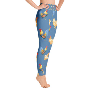 Watercolor Hen and Rooster Pattern on Blue Yoga Leggings