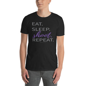 Eat. Sleep. Shoot. Repeat. (photographer/videographer/guns) Short-Sleeve Unisex T-Shirt