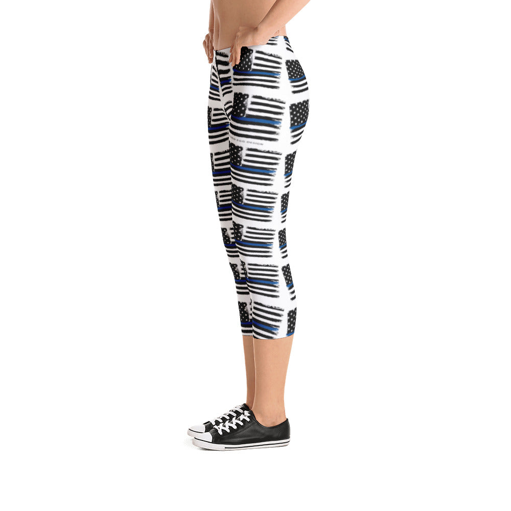 Thin Blue Line Flag Pattern, Police/LEO Support Capri Leggings
