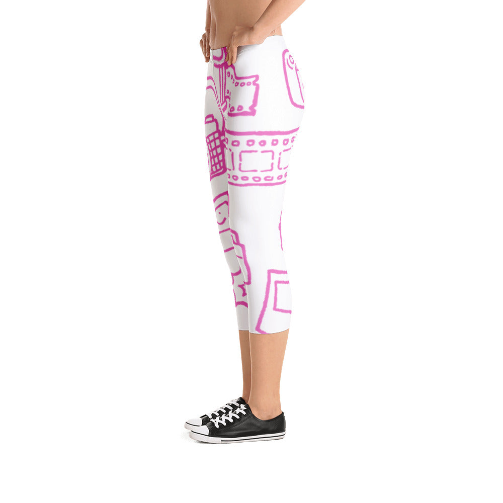 Funky Camera Drawing (Pink) Capri Leggings