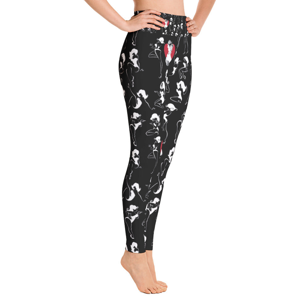 Boudoir/pinup girls posing on black pattern Yoga Leggings