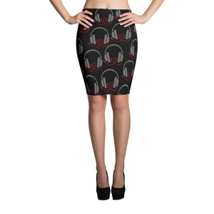 DJ with heart cord (black) Pencil Skirt