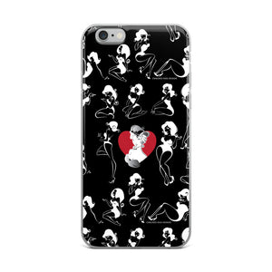 Boudoir/pinup girls posing on black pattern iPhone Case