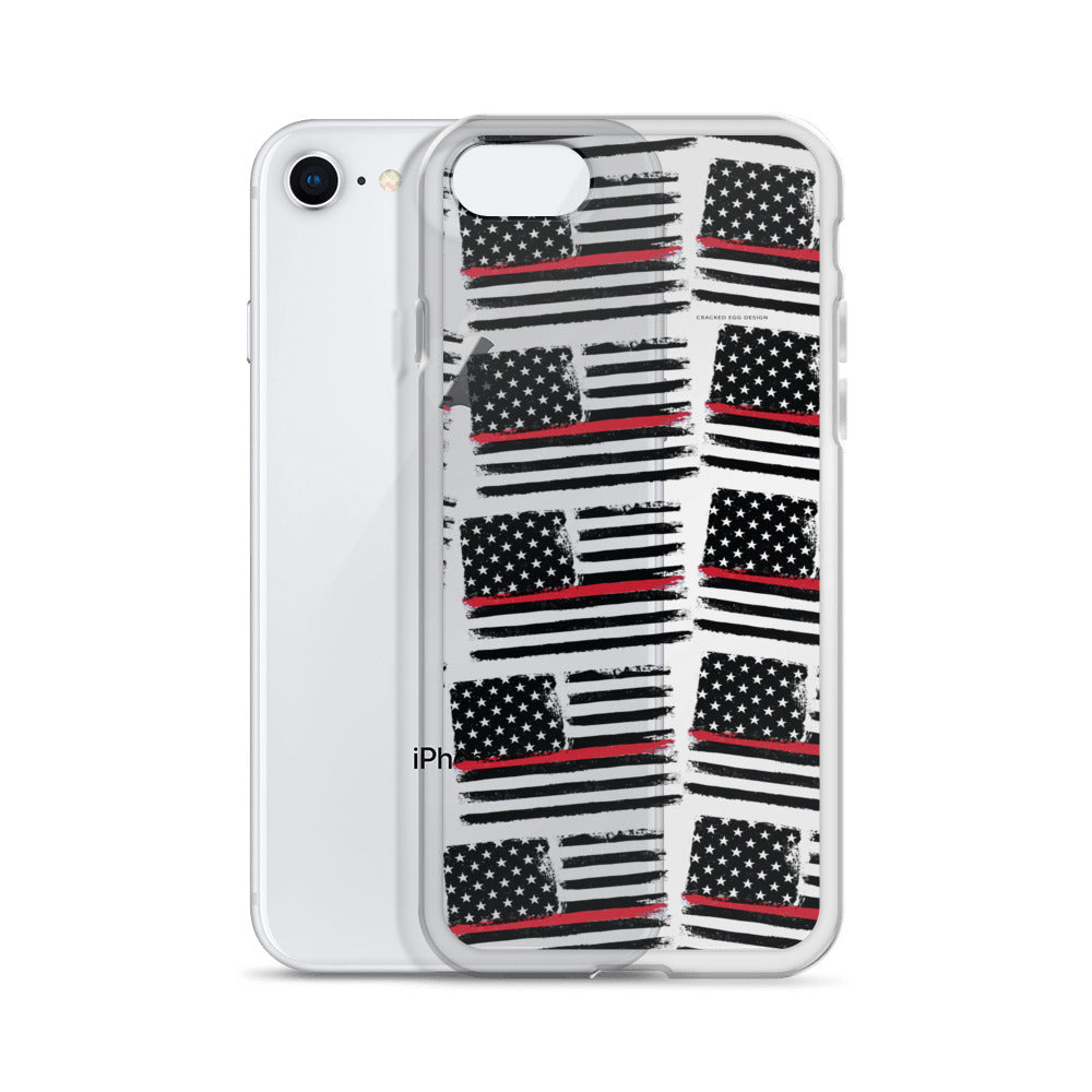 Thin Red Line Firefighter Flag Pattern iPhone Case