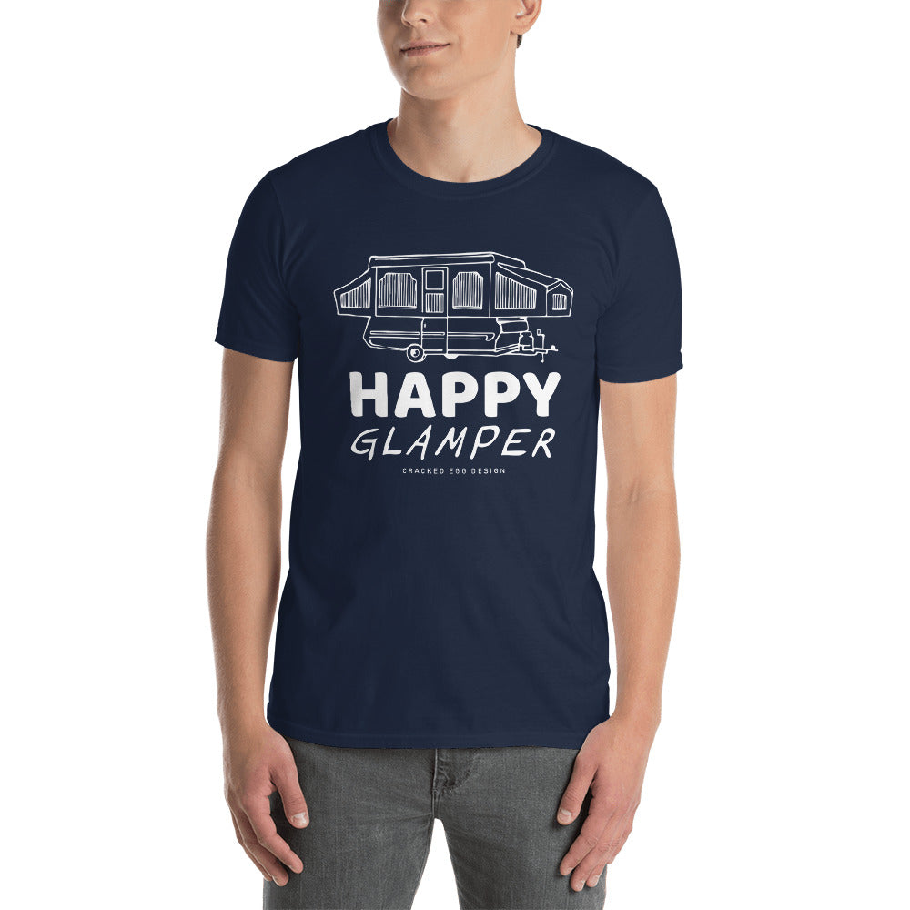 """Happy Glamper"" with pop up Short-Sleeve Unisex T-Shirt"