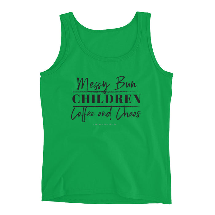 Messy Bun. CHILDREN. Coffee and Chaos. Girl Boss, SAHM, WAHM, Mom, Daycare Ladies' Tank