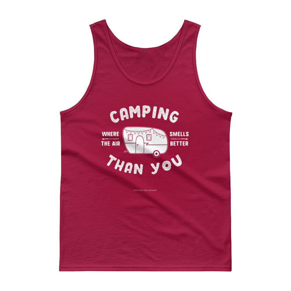 """Camping where the air smells better than you"" White Glamper Tank top"