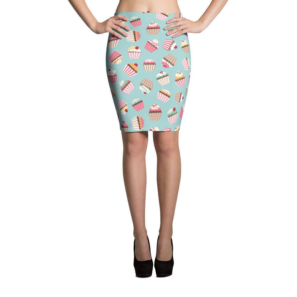 Cupcakes pattern (foodie, wedding cake artist, baker) Pencil Skirt