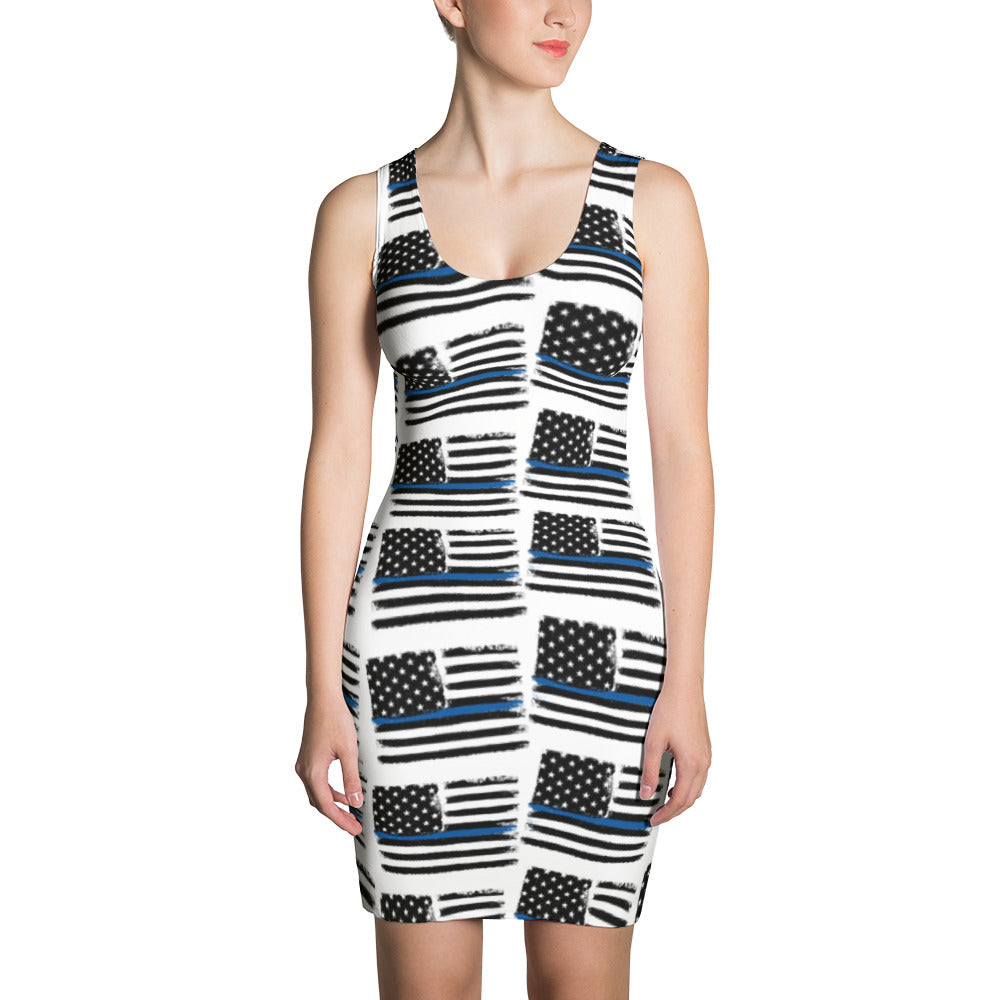 Thin Blue Line Flag Pattern, Police/LEO Support Sublimation Cut & Sew Dress
