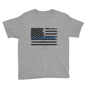 Thin Blue Line Flag Police/LEO Support Youth Short Sleeve T-Shirt