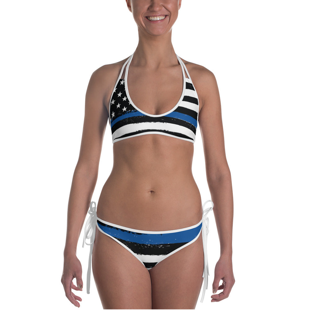 Thin Blue Line Flag Pattern Police/LEO Support Bikini