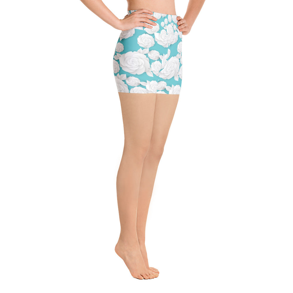 White Paper Flowers on Tiffany Blue Yoga Shorts