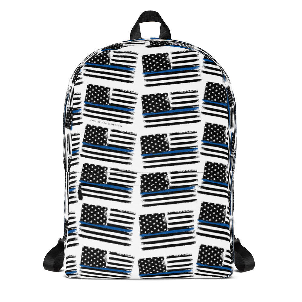 Thin Blue Line Flag Pattern, Police/LEO Support Backpack