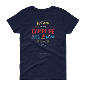 Where Friends and Marshmallows get Toasted CAMPING Women's short sleeve t-shirt
