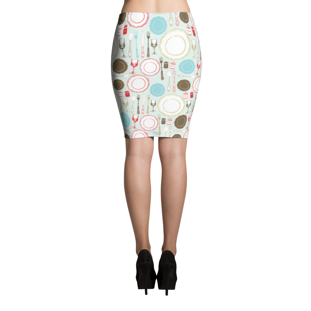 Colorful China Pattern (Ideal for Wedding Rentals) Pencil Skirt