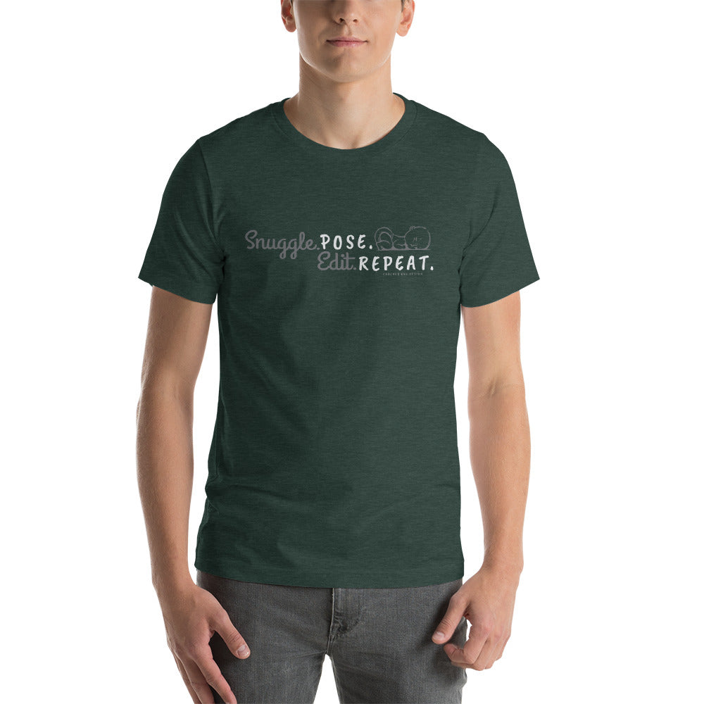 """Snuggle. Pose. Edit. Repeat"" Newborn/Birth Photographer Short-Sleeve Unisex T-Shirt"