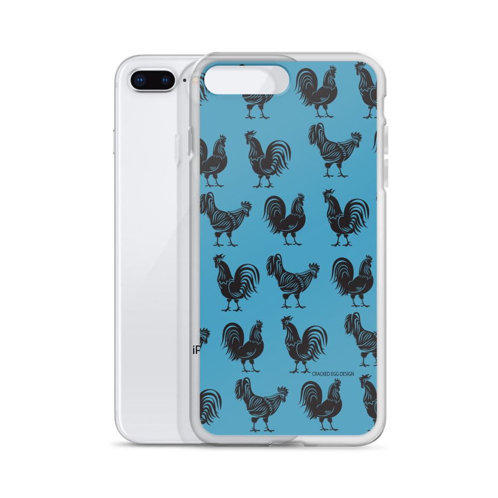 BW Roosters on Blue Pattern iPhone Case