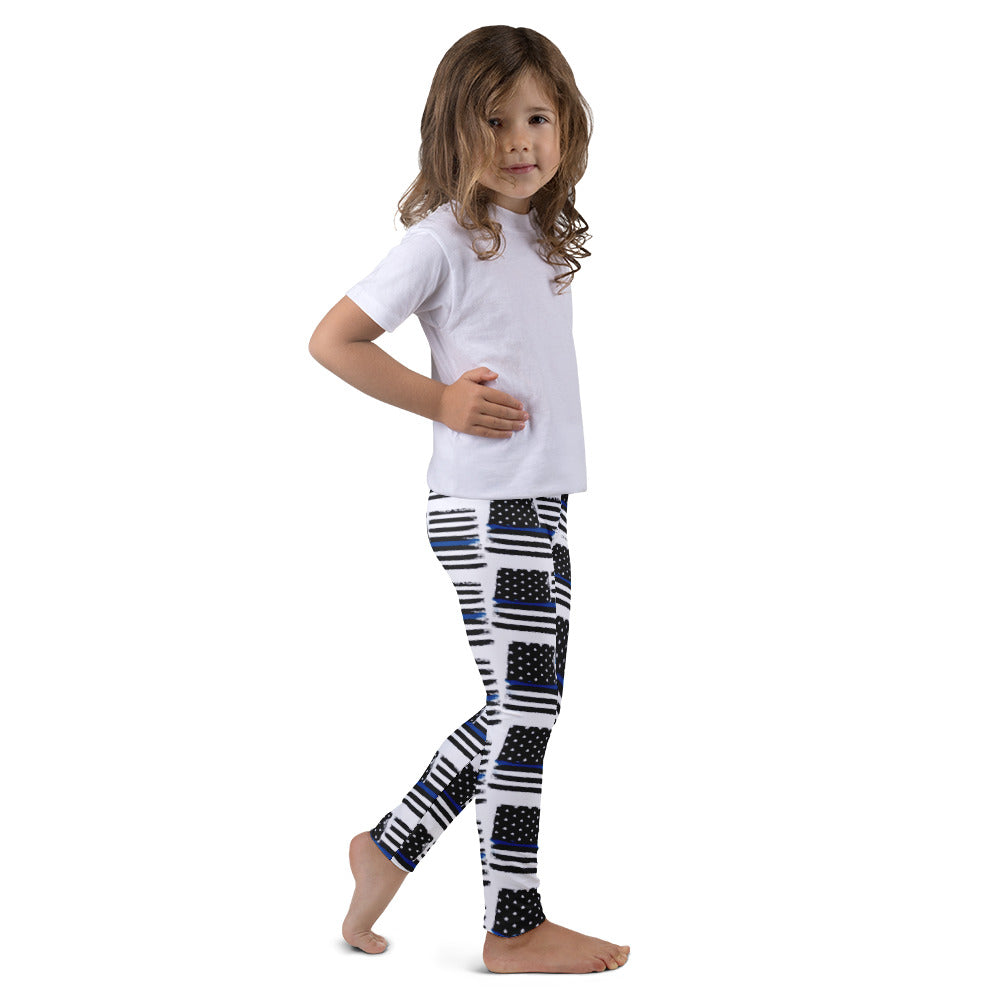 Thin Blue Line Flag Pattern Police/LEO SupportKid's leggings