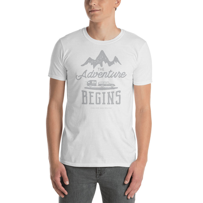 """The Adventure Begins"" Pull Behind RV Camping Short-Sleeve Unisex T-Shirt"