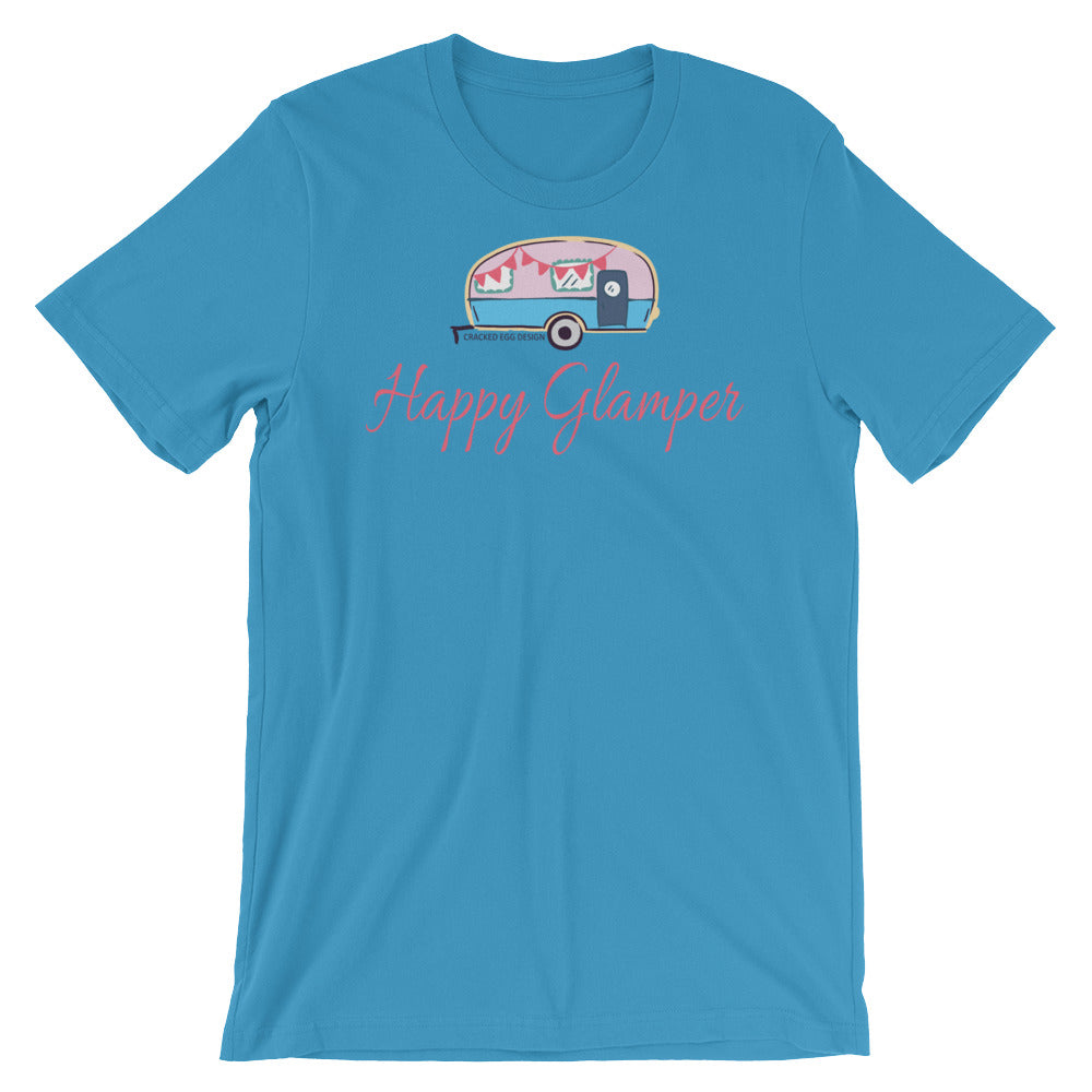 """Happy Glamper"" (Cute RV/camping) Short-Sleeve Unisex T-Shirt"