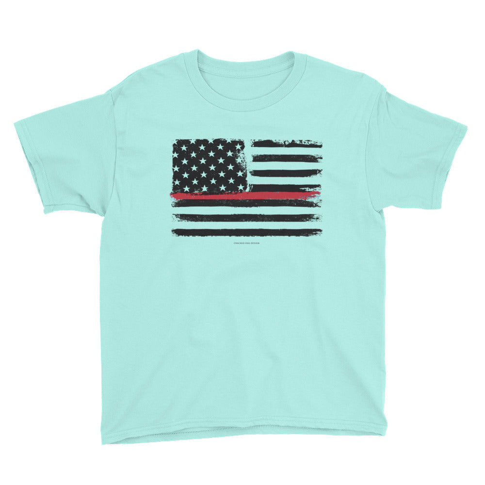 Thin Red Line Flag Firefighter Youth Short Sleeve T-Shirt