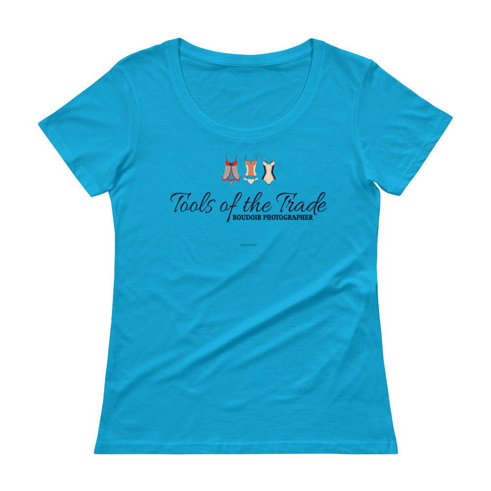 """Tools of the trade"" Boudoir Photographer Ladies' Scoopneck T-Shirt"