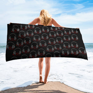 DJ with heart cord (black) Towel