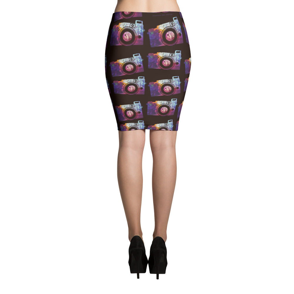 Colorful Splotch Pattern Camera Print Pencil Skirt