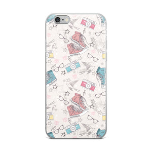 80s Doodles Sneakers & Camera Pattern iPhone Case